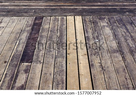 Timber flooring. Planks of old wood boarding.