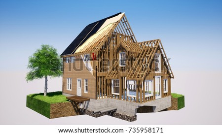 Timber Frame House Structure Elements 3D Rendering