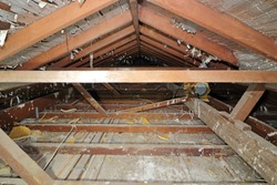 Timber framed roof void in an old  house