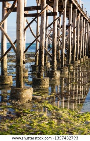 Timber piles of wooden pedestrian bridge above the ocean surface close-up during ocean low tide. Coast of island Zanzibar. Village Nungwi
