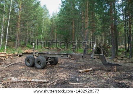 Timber trailer on the cutting area.