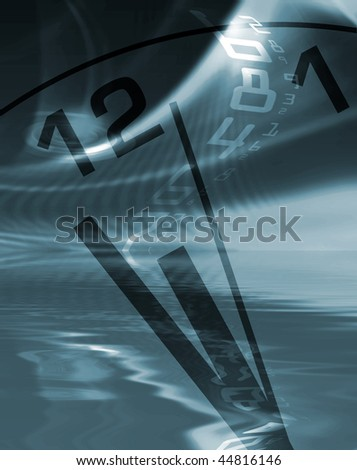 Time abstract showing clock face and digital numbers