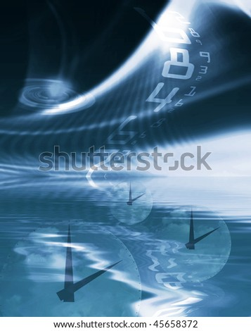 Time abstract showing clocks in water and digital numbers