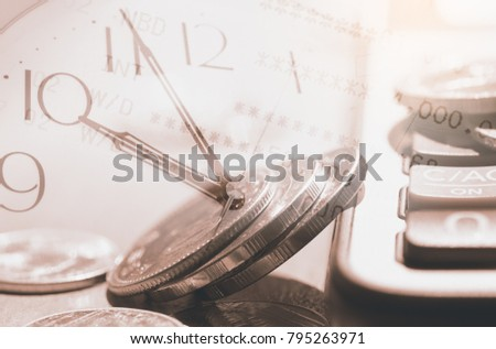 Time and money concept. Double exposure of money, clock, calculator and bank account meaning save time save money in vintage style, sepia tone. financial background, economic growth
