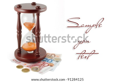 Time and money isolated on white background