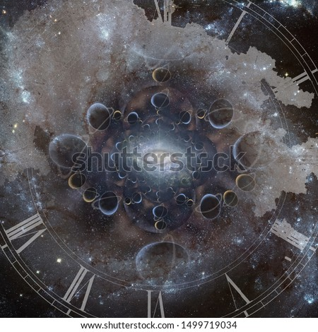 Time and space. Ancient clock-face and all seeing eye. 3D rendering