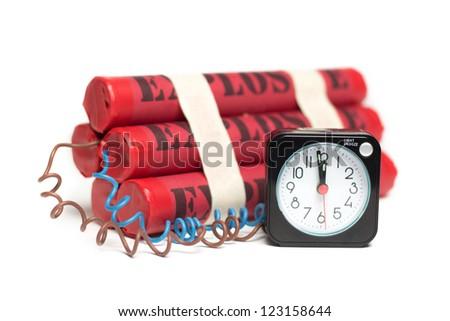 Time bomb, explosives with alarm clock detonator