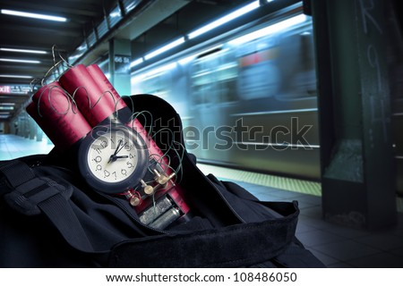 time bomb in a backpack representing terrorist attack