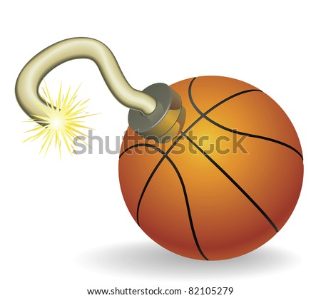 Time bomb in shape of basketball concept. Represents countdown to explosive event or ongoing basketball crisis