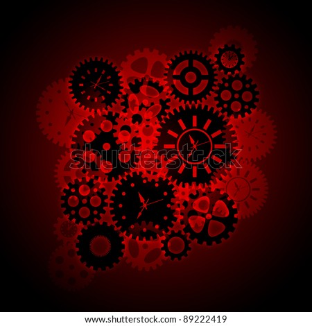 Time Clock Gears Clipart Silhouette on Red Background Illustration