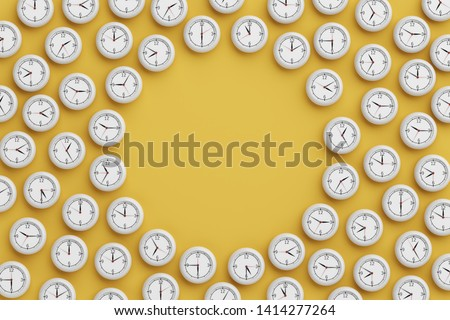 time clock scattered around ground middle void space circular pattern 3d stop still on yellow background. object with clipping path. copy space. 3D Illustration. Stock photo ©