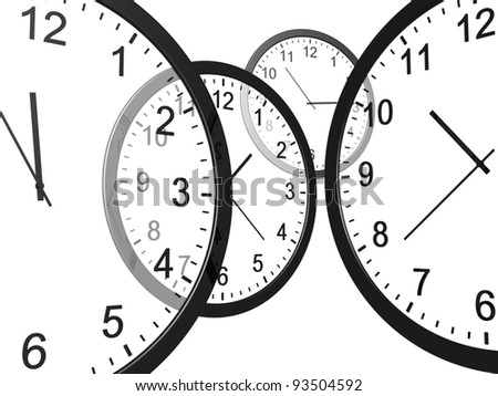 Time. Clock with a variety of indications on a white background.