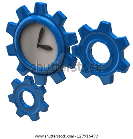 Time concept. Clock and gears.