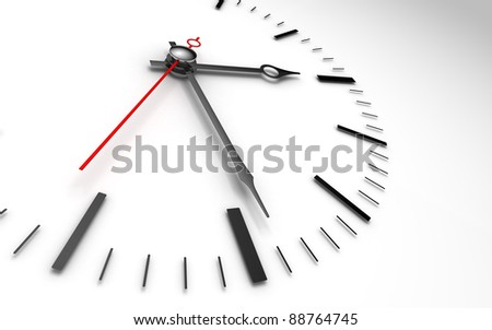 time concept clock closeup on white background showing three and a half hour