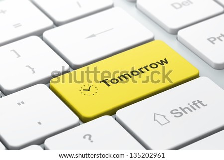 Time concept: computer keyboard with Clock icon and word Tomorrow, selected focus on enter button, 3d render