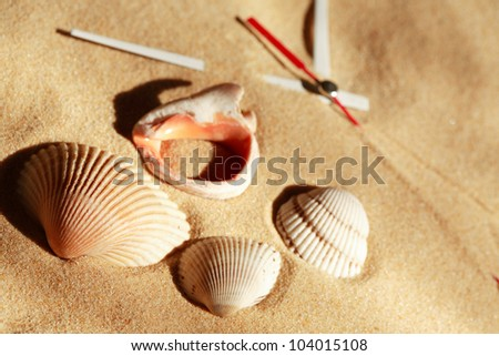 Time concept. Few seashells near clock hands on sand surface
