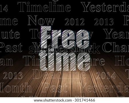 Time concept: Glowing text Free Time in grunge dark room with Wooden Floor, black background with  Tag Cloud, 3d render