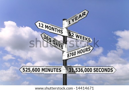 Time concept image of a signpost against a blue cloudy sky indicating one year split into months,weeks,days,hours,minutes and seconds.