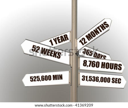 Time concept image of a signpost against gradient background indicating one year split into months weeks days hours minutes and seconds.