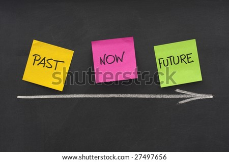 time concept - past, present, future - colorful sticky notes on blackboard with white chalk arrow and eraser smudges