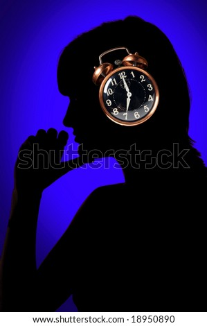 Time concept represented by silhouette of woman and clock - stock photo