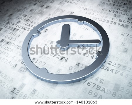 Time concept: Silver Clock on digital background, 3d render