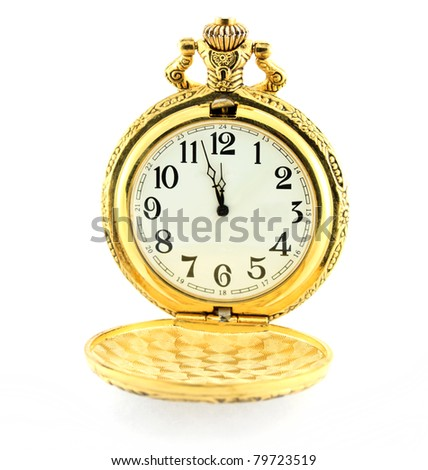 Time concept with watch, about three minutes until 12