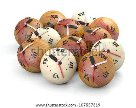 Time concept. Wooden sphere clocks