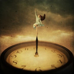 Time control concept. Girl dancing on the edge of clock hand
