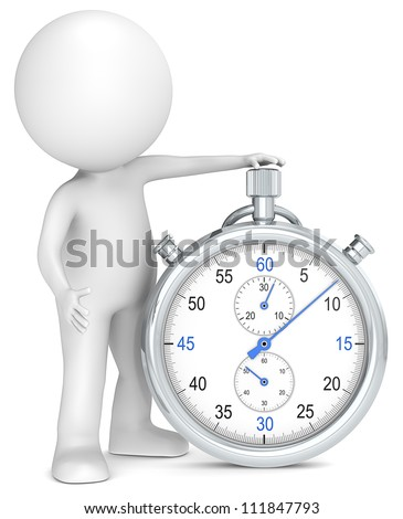 Time. 3D little human character with a Stopwatch. Blue and Metal. People series.