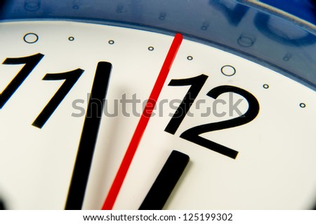Time - Extreme closeup clock hands about to hit midnight or noon