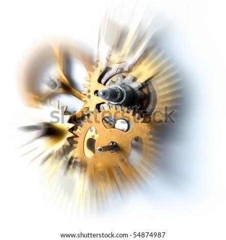 Time flies concept old clock mechanism