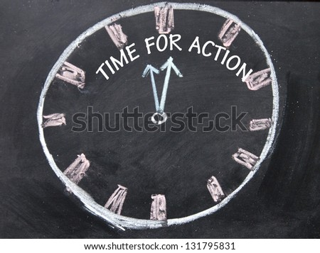 time for action clock sign