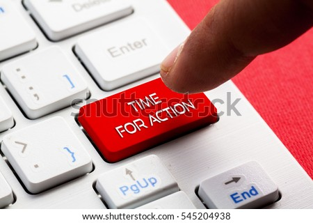 Photo of  TIME FOR ACTION word concept button on keyboard