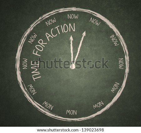Time for Action written on the blackboard with clock