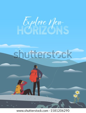 Time for adventure travel concept. Extrime active sport tourism trip sign. Backpacker in high mountains. Outdoor tourist adventures banner background. Minimal flat design. Nature outdoors illustration