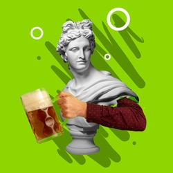 Time for beer. Contemporary art collage with bust of antic statue and hand holding beer glass with lager cold foamy beer. Concept of festival, national traditions, taste and holidays, octoberfest