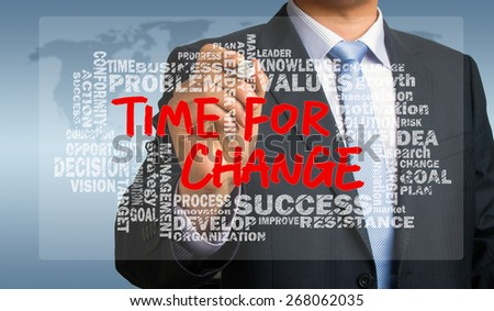 time for change concept with related words cloud