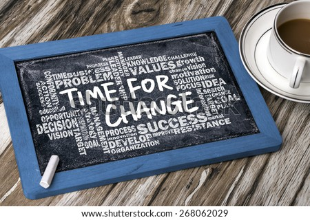 time for change concept with related words cloud on blackboard