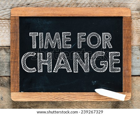 Time for change handwritten with white chalk on a blackboard