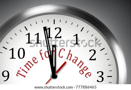 Time for Change NOW clock illustration  motivation background