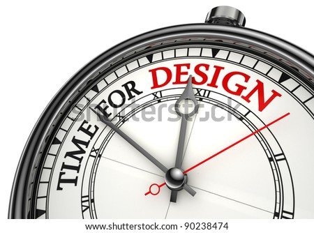 time for design clock closeup on white background with red and black words