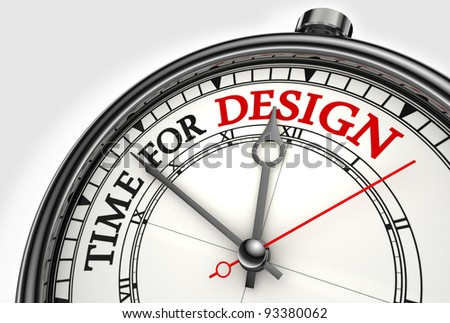 time for design concept clock closeup on white background with red and black words