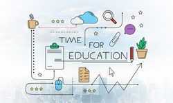 Time for education linear sketch on background of modern downtown. Internet learning and business knowledges. Mind map of educational web content. Commercial marketing and business presentation.