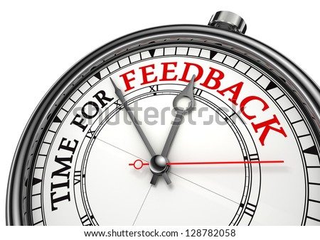 time for feedback concept clock on white background with red and black words