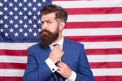 Time for Greatness. bearded man usa parliament representative. 4 of july independence day. celebration of freedom. Patriotic education. legal system in America. confident businessman at american flag.
