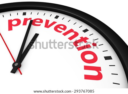 Time for prevention, health and safety lifestyle concept with a clock and prevention word and sign printed in red 3d render image. Stock photo ©