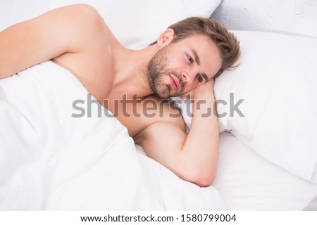 Time for relax. Relax techniques. Perfect rest. Man handsome guy relax in bed. Get enough amount of sleep. Tips sleeping better. Unshaven man handsome face relaxing. Pleasant relaxation concept.