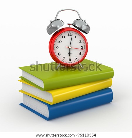 Time for school. Alarm clock on books. 3d