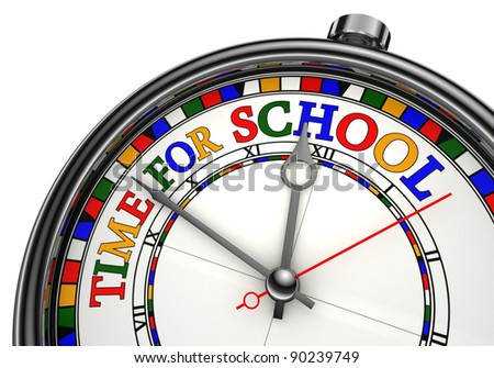 time for school colorful concept clock closeup on white background with red and black words
